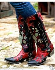 DD9001B DD Ranch Lane Red & Black Ammunition Leather Western Boots CLEARANCE!