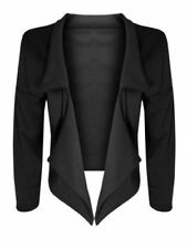 NEW LADIES BLACK OPEN FRONT CROPPED WATERFALL BLAZER JACKET SIZE 8-22