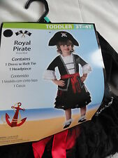 Girl Pirate Costume Dress-up ,Royal Pirate Halloween costume,Toddler 2T, 3T-4T