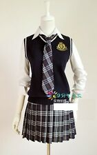 J521 YELLOW CHECK DRESS LOLITA COSPLAY GOTHIC LACE PLEATED SCHOOL GIRL UNIFORM
