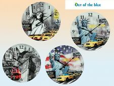 New York and London Glass Wall Clock - Retro Funky Wall Clock- 57cm Wall Clock