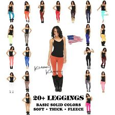 SOLID Color Leggings SOFT Warm Basic Long FLEECE Lined THICK Stretch ~ LOLLIPOP