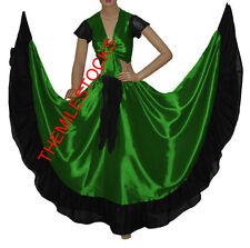 TMS GREEN/BLACK Designer Ruffle Skirt + Top Belly Dance Costume Gypsy Flamenco