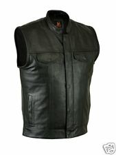 Mens Soa style leather vest w/ zipper & snap front closure & inside gun pocket
