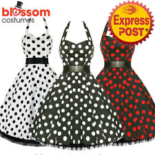 RKH10 Hearts & Roses Polka Dots Rockabilly Dress Pin Up Vintage 50s Prom Swing