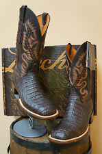 MENS LUCCHESE COWBOY BOOTS! BROWN HORNBACK CAIMANCROC!CL1067.W8S SQUARE TOE!