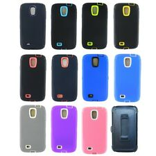 For Samsung Galaxy S4 Rugged Heavy Duty Case w/ Build-in Screen + Holster