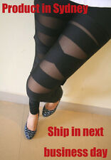 RETRO COLLECTION Sexy Black Stretchy Legwear Cross Bandage Straps Leggings Pants