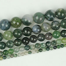 Natural Moss Agate Round Loose Gemstone Beads 4mm 6mm 8mm 10mm 12mm Strand 15.5""