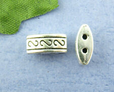 Wholesale HOT! Jewelry FREE SHIPPING Spacer Beads 2 Holes Silver Tone