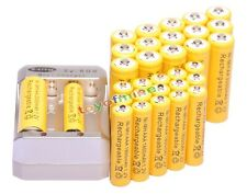 16x AA 3000mAh +16x AAA 1800mAh 1.2V Ni-MH Yellow Rechargeable Battery +Charger