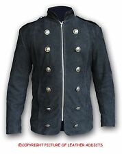 Mens Real Black NUBUCK Leather Military Style Steampunk Jacket Coat (SPJ3 BLK)