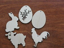 Wooden Easter decoration for crafts,  ornaments, gift tags, blank shapes x10