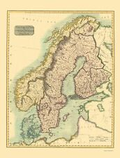 Old Scandinavia Map - Scandinavia or Sweden, Denmark, Norway 1814 - 23 x 30