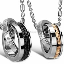 """Stainless Steel """" Eternal Love """" Rings His Hers Couples Pendant Promise Necklace"""