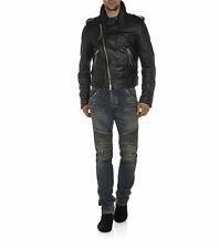 Genuine Soft Lambskin Leather Asymmetrical Zipper Biker Jacket