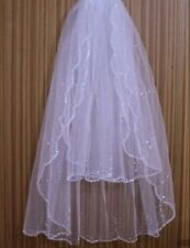 2T Sequin and Rhinestone Edge Elbow Length Bridal Wedding Veil with Comb