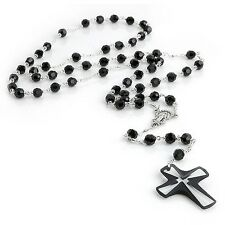 6mm Swarovski Bead Crystal Necklace Rosary - Black, White, Red