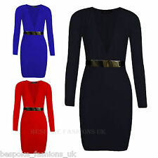 H1E Ladies Plunge V Neck Bodycon Long Sleeve Gold Belted Womens Mini Dress 8-14
