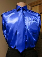 Royal Blue Satin Shirt Neck Tie Hanky Dance quinceanera pocket Square Costume