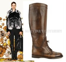 $1,150 GUCCI BOOTS BOULANGER LACED EQUESTRIAN TALL FLAT COCOA LEATHER