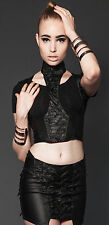 Lip Service Hybrid Steampunk Cyber Goth Harness Cincher Spiked Pleather Top