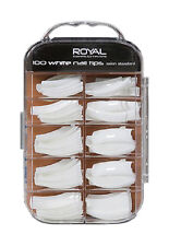 Royal 100 False Acrylic Nail Tips With Well Salon Standard Tip White Clear Pearl