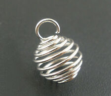 Wholesale HOT! Jewelry Silver Tone Spring Bead Cages Pendants 8x9mm