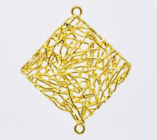 Wholesale HOT! Jewelry Gold Plated Square Filigree Earring Pendants 31x27mm