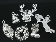 Wholesale HOT! Jewelry Mixed Silver Tone Christmas Lot Charms Pendants