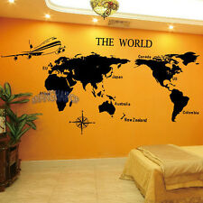 World Map Wall Sticker Removable Decal Vinyl Novelty Home Office Decor Black New