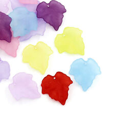 Wholesale HOT! Jewelry Mixed Frosted Acrylic Leaf Charms Pendants 25x23mm
