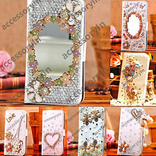 Bling Leather Flip Wallet Case Cover for Apple iPhone 4S 5S 5C Mobile Phones