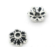 Wholesale HOT! Jewelry Silver Tone Flower Bead Caps 6x2.8mm Findings