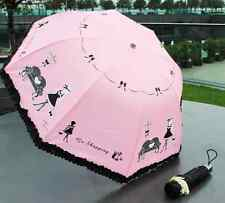 """Beauty shopping"" Beautiful lady's black lacy folding umbrella ,various color"