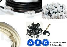 AERIAL EXTENSION LEAD DIGITAL QUALITY COAX CABLE WIRE IN BLACK AND WHITE