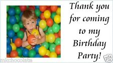 40x Personalised own photo childs birthday labels/stickers/party/cake/sweet/bags