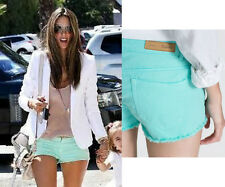ZARA  Women's Light Turquoise Blue Denim Ripped Shorts  5 Pockets size 6 8 10 12