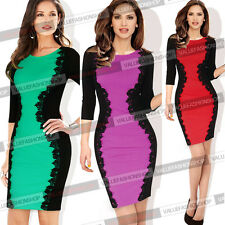 Womens Elegant Floral Crochet Colorblock Party Cocktail Bodycon Sheath Dress 638