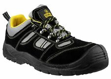 AMBLERS SAFETY WORK BOOTS TRAINER BLACK GREY STEEL TOE CAP FAB870 UK3 TO 12