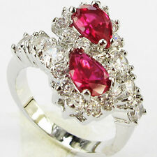 Size 6,7,8,9 Jewelry Woman's Ruby 10KT White Gold Filled Ring