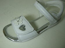 Clarks Girls Jacey Kate White Leather Velcro Sandals