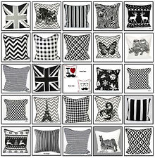 100% Cotton Decorative Trendy Black&White Cushion Cover pillow case 18x18""