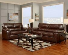 Cheyenne Cafe Brown Bonded Leather Sofa Loveseat Living Room Furniture Set