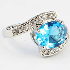 Size 6,7,8,9 Jewelry Woman's Blue Topaz 10KT White Gold Filled Ring
