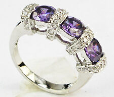 Size 6,7,8,9,10 Jewelry Woman's 2.6CT Amethyst 10KT White Gold Filled Ring