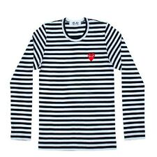 UNISEX  COMME DES GARCONS CDG PLAY STRIPED LONG SLEEVE NAVY BLACK RED HEART