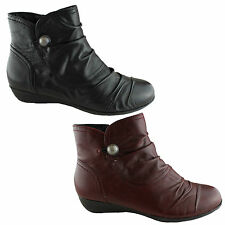 ZENSU NANCY LADIES LEATHER CASUAL COMFORT FASHION LEATHER ANKLE BOOTS