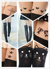 Sexy Cat Tail Love Heart Bow Mock Knee High Tattoo Tights Pantyhose Leggings