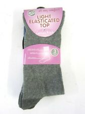 Ladies pack of three light elasticated top cotton rich  socks uk size 4-7:Anucci